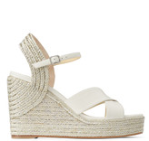 Jimmy Choo DELLENA 100 Latte Nappa Leather Wedge with Metallic Rope Trim