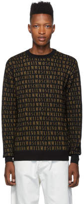 Moschino Black All Over Logo Crewneck Sweater