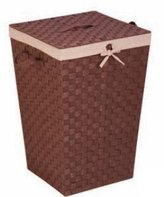 Honey-Can-Do International HMP-02980 Woven strap hamper with liner and lid - java-brown