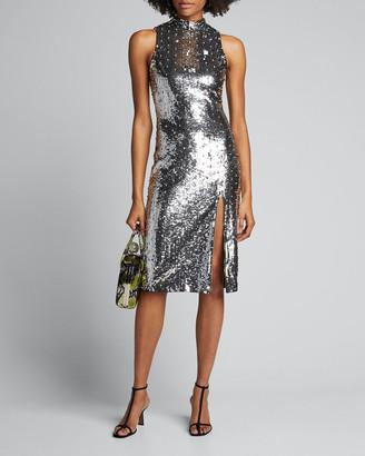 Alice + Olivia Malika Sequined Fitted Sleeveless Mock-Neck Dress