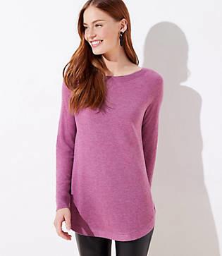 LOFT Petite Luxe Knit Shirttail Tunic Sweater