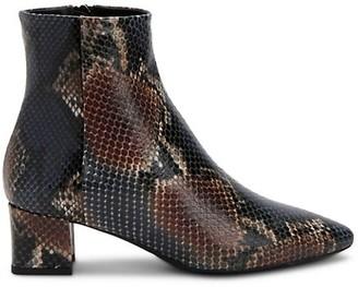 Aquatalia Perlina Snakeskin-Embossed Leather Ankle Boots