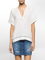Calvin Klein Perforated Trim Boho Top