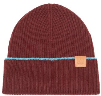 Loewe Anagram-patch Wool Beanie Hat - Burgundy