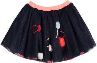 Billieblush Girl's Glitter Tulle Skirt w/ Candy Pompom Detail, Size 4-12