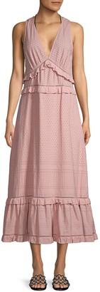 Jonathan Simkhai Lace Eyelet Deep V-Neck Ruffle-Trim A-Lnie Midi Dress