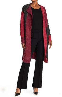 Joseph A Colorblock Open Front Long Cardigan Sweater Coat