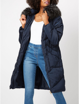 George Longline Faux Fur Trim Padded Coat