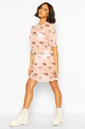 boohoo Cherub Print Mesh T-Shirt Dress