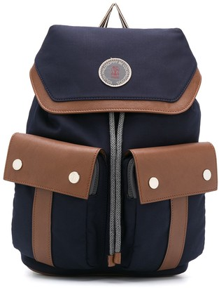 BRUNELLO CUCINELLI KIDS Leather Panel Backpack