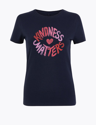 Marks and Spencer Cotton Kindness Slogan T-Shirt
