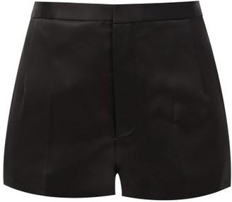 Saint Laurent High-rise Wool-blend Shorts - Black