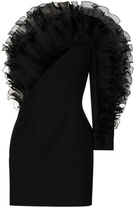 Alexandre Vauthier One-Shoulder Ruffle-Trim Mini Dress