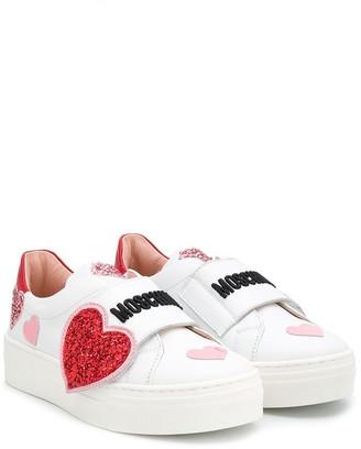 MOSCHINO BAMBINO TEEN heart applique platform sneakers