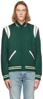 Saint Laurent Green Wool Teddy Bomber Jacket