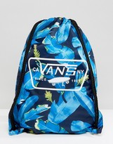 Vans Printed Drawstring Bag In Leaf Print V002W6NKB