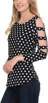 Celeste Black Polka Dot Cutout-Sleeve Tunic - Plus