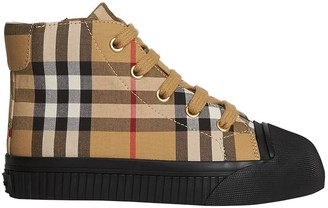 BURBERRY KIDS Vintage Check and Leather High-top Sneaker