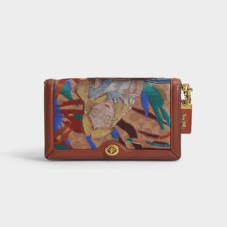 Coach Disney X Embellished Alice Coated Canvas Signature Riley Bag In Multicoloured Pvc