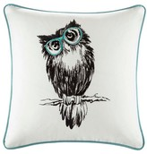 "Nobrand No Brand Owlfred Owl Embroidered Cotton Throw Pillow - Aqua (20x20"")"