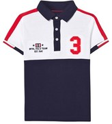 Mayoral Navy and White Block Colour Polo Shirt