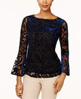 Charter Club Petite Burnout Velvet Illusion Top, Created for Macy's