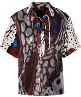 Roberto Cavalli Lace-Up Sequined Tulle And Printed Silk Crepe De Chine Top