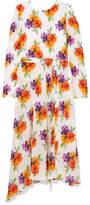 MSGM Floral-print Silk-chiffon Maxi Dress - Yellow