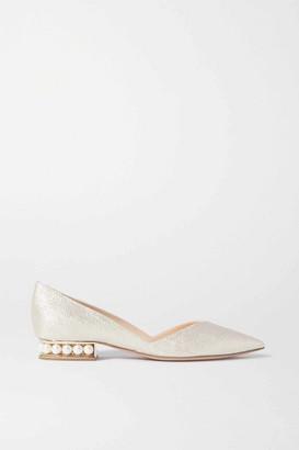Nicholas Kirkwood Casati Faux Pearl-embellished Metallic Canvas Point-toe Flats - Gold