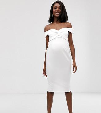 Asos DESIGN Maternity baby shower off shoulder knot detail midi dress-White