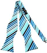 Pense'e Pensee Mens Self Bow Tie Sky Blue and Black Stripe Jacquard Woven Silk Bow Ties
