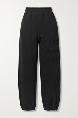 P.E Nation Power Play Embossed Stretch Organic Cotton-jersey Track Pants - Black