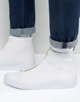 Asos Sneakers In White With Zip Detail
