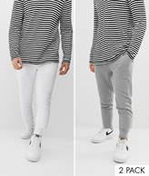 Asos Design ASOS DESIGN skinny joggers 2 pack white / grey marl
