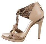 Alexandre Birman Snakeskin T-Strap Sandals
