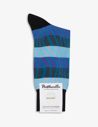 Pantherella Stirling striped cotton-blend socks