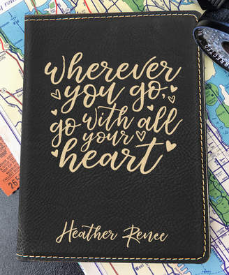 Stamp Out Online Passport Holders black - Black & Gold 'Go With All Your Heart' Personalized Passport Cover