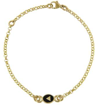 Foundrae Black Champlevé Enamel Pyramid Sequence Bracelet - Yellow Gold
