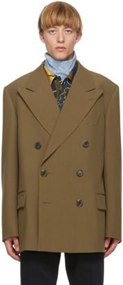 Dries Van Noten Brown Wool Double-Breasted Blazer