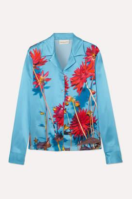 Dries Van Noten Copine Floral-print Silk-satin Shirt - Light blue