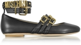 Moschino Black Leather Flat Ballerinas w/Golden Buckles & Signature Logo