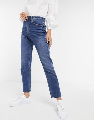 Stradivarius ultimate high waist straight jeans in mid blue wash