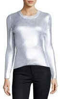 Carven Ribbed Metallic Crewneck Sweater, Gray