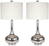 Abbyson Living Mercury Antiqued Glass Table Lamps, Set of 2, Silver