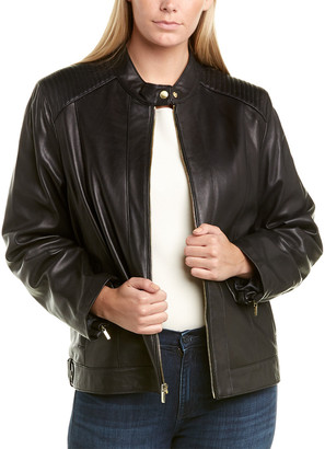Cole Haan Plus Ribbed Leather Jacket