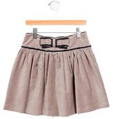 Tartine et Chocolat Girls' Bow-Embellished Velvet Skirt