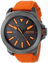 HUGO BOSS BOSS Orange Men's 1513010 New York Stainless Steel Watch with Orange Woven Band