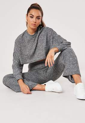 Missguided Grey Cropped Batwing Sweatshirt Wide Leg Co Ord Set