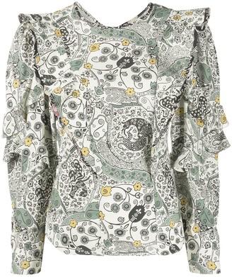 Etoile Isabel Marant Floral Print Ruffle Blouse