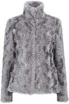 Grey Short Faux Fur Funnel Coat